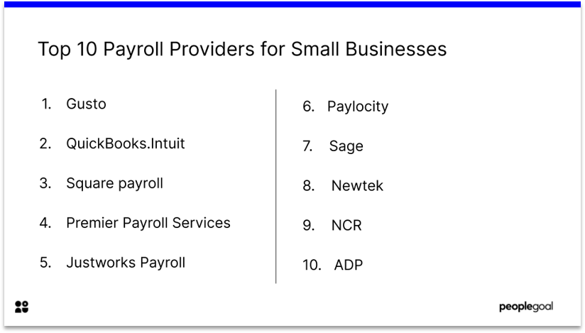 Top 10 Payroll Provider small businesses