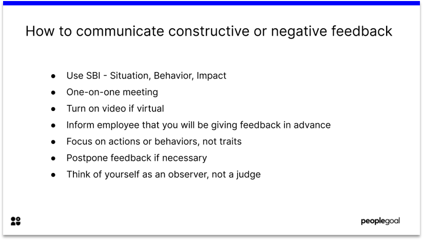 Communicating constructive or negative feedback